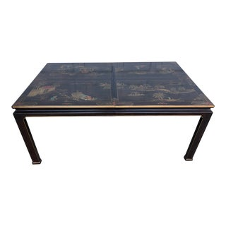 1980s Chinoiserie Henredon Lacquered Mahogany Dining Table For Sale
