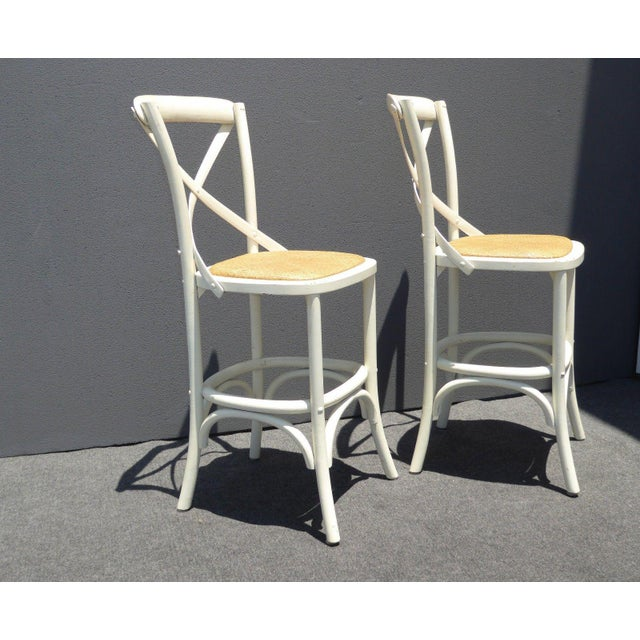 2000 - 2009 Vintage French Country White Rye Seat Bar Stools - A Pair For Sale - Image 5 of 11