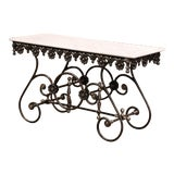 Image of Polished Iron Butcher Pastry Table With Marble Top From France For Sale