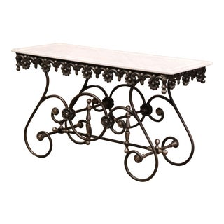 Polished Iron Butcher Pastry Table With Marble Top From France For Sale