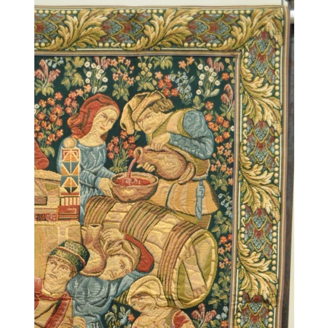 "70""x 62"" French Wall Hanging Tapestry Jacquard Mille-Fleures Medieval Winemakers For Sale In Philadelphia - Image 6 of 10"