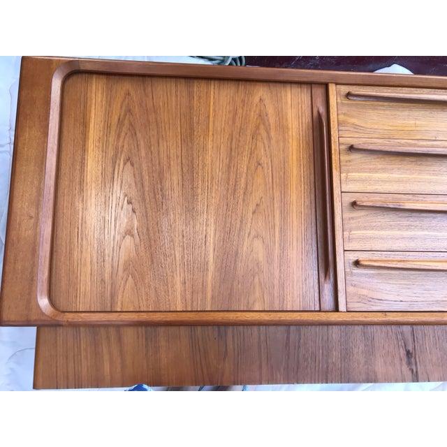 1970s Bernhard Pedersen Mid-Century Danish Teak Credenza Dresser Plinth Tambour For Sale - Image 5 of 10