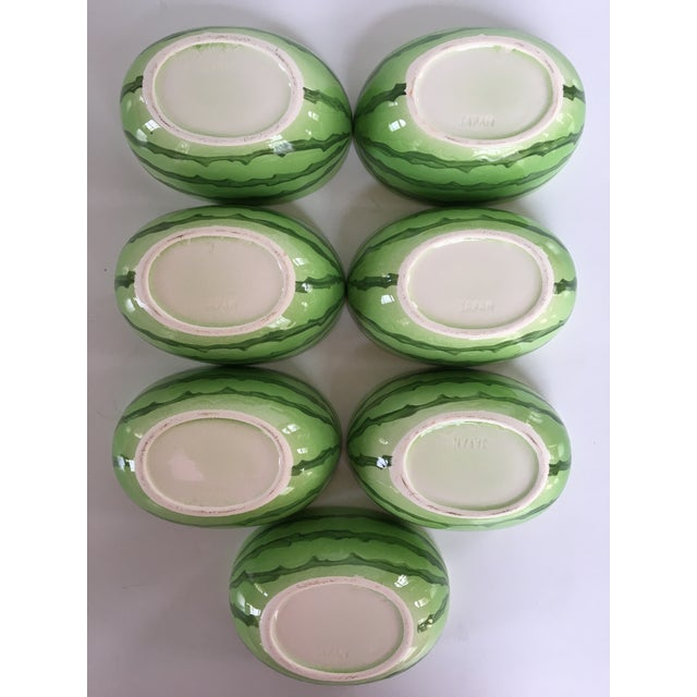 Vintage Japanese Hand Painted Watermelon Shaped Bowls - Set of 7 For Sale - Image 10 of 13