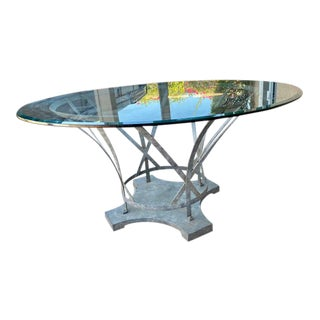 Industrial Modern Ribbon Steel Glass Top Table For Sale