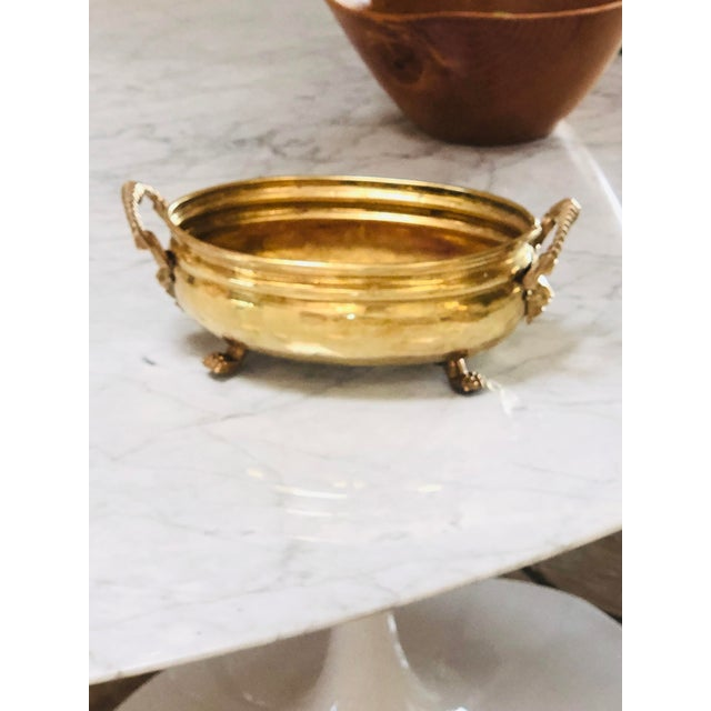 Gold Antique Lion Head Handle Brass Bowl For Sale - Image 8 of 9
