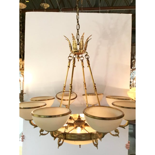 Myran Allen Luxury Lighting Neoclassical Style Cast Bronze Alabaster Chandelier For Sale - Image 4 of 7