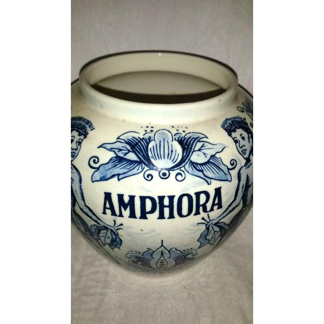 """Blue Blue Delft """"Amphora"""" Hand Painted Porcelain Jar For Sale - Image 8 of 8"""