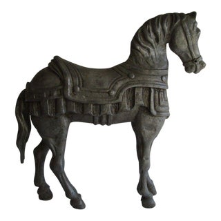 19th Century Figurative Metal Sculpture of Carousel Horse For Sale