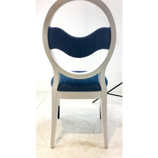 Blue Caracole Modern Prototype Blue and White Wave Dining Chairs Set of Ten For Sale - Image 8 of 9
