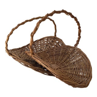 Vintage Farmhouse Boho Chic Wicker Gathering Baskets - a Pair For Sale