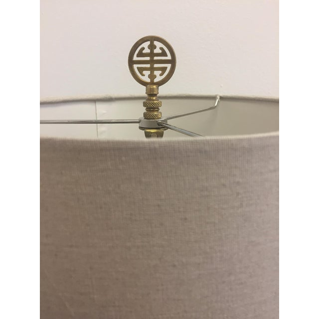 Blanc De Chine White & Brass Asian Pierced Porcelain Table Lamp - Image 3 of 3
