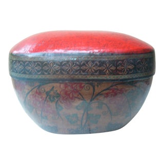Red Burmese Bamboo Box For Sale