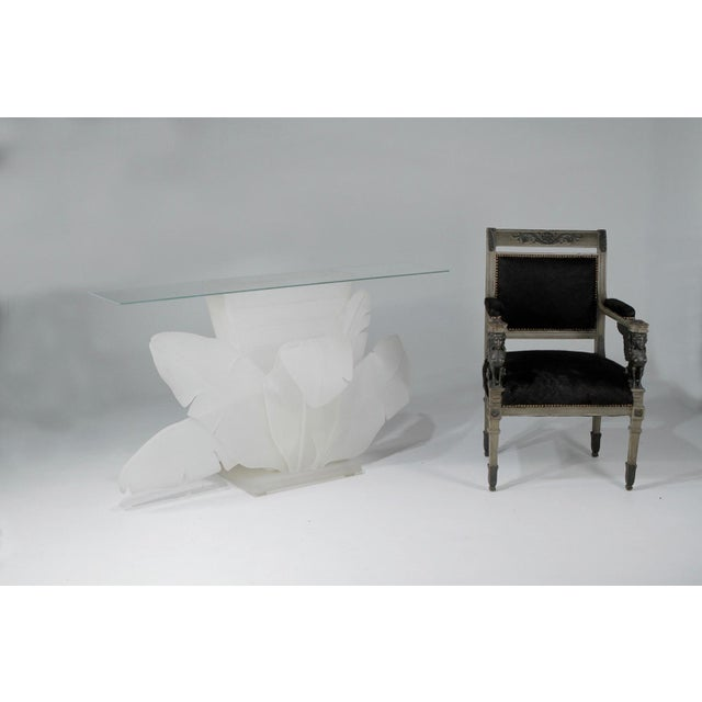 Luminous Electrified Frosted Lucite Palm Motife Console Table For Sale In Philadelphia - Image 6 of 13