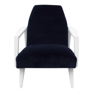 Mid-Century Painted Wood & Blue Velvet Chair