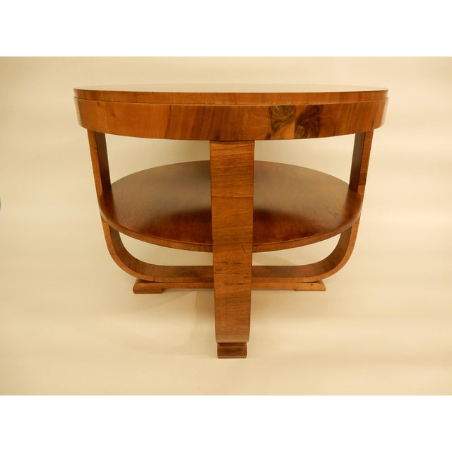 1930s Round Art Deco Walnut Side Table For Sale - Image 5 of 7