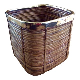 Vintage Pencil Reed Coiled Bamboo Planter Basket With Brass Rim For Sale