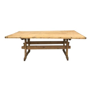English Pine Country Farmhouse Trestle Table For Sale