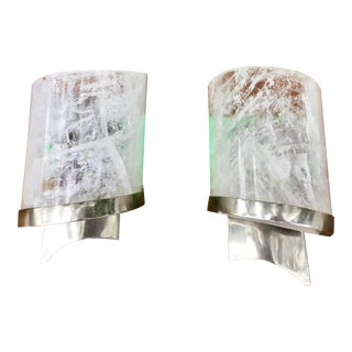 Rock Crystal and Chrome Wall Sconces - a Pair For Sale