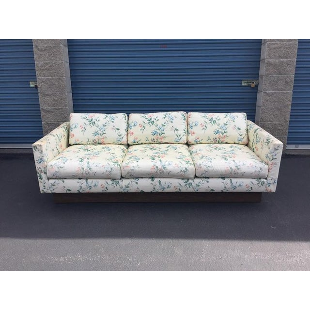 Mid Century Modern Milo Baughman Walnut Plynth Base Sofa For Sale - Image 10 of 10