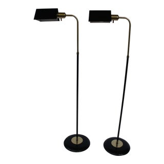 1970s Mid-Century Modern Black and Brass Tent Shade Pharmacy Floor Lamps in the Style of Koch & Lowy - a Pair For Sale