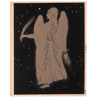 Astronomy, Constellation, Virgo, Antique Matted Chromolithograph, 1845 For Sale