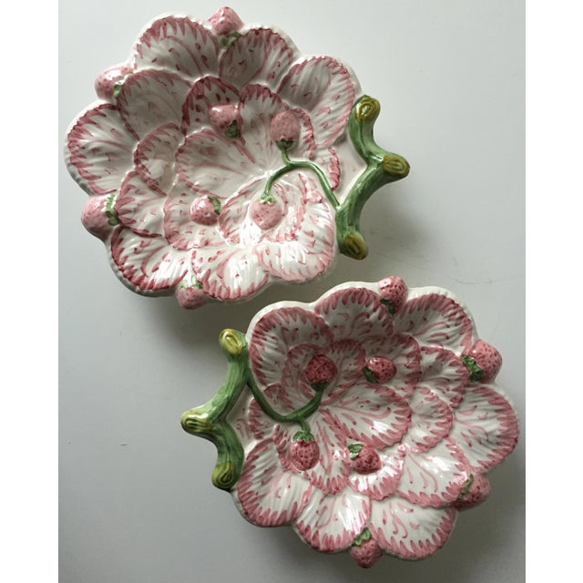 Cottage Vintage Strawberry Faience Dishes-Neuwirth - a Pair For Sale - Image 3 of 7