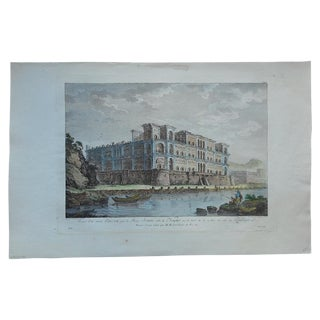 Antique Folio Size Palace Naples, Italy Engraving For Sale