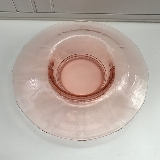 Pink Depression Glass Console Bowl Candle Holder Set Of 3 Chairish