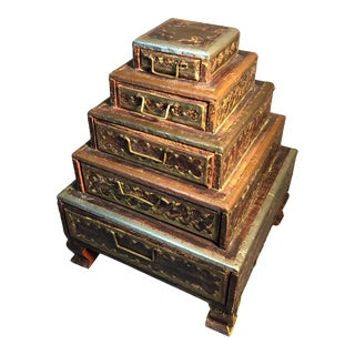 Pyramid of 5 Drawers Cutout Brass Copper Silver on Wood, Made in India For Sale