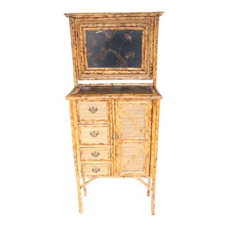 19th Century English Bamboo Vanity Cabinet For Sale