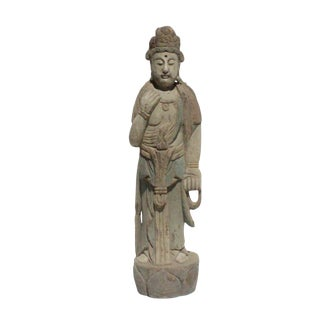 Chinese Rustic Distressed Finish Wood Standing Kwan Yin Statue For Sale