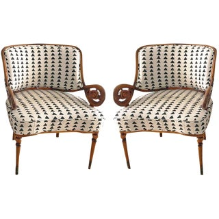 Vintage Upholstered Arm Chairs- A Pair For Sale