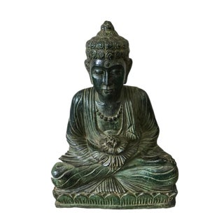 Large Carved Wood Buddha Statue in Meditation Pose