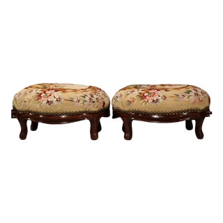 19th C. French Carved Aubusson Tapestry Stools - a Pair For Sale