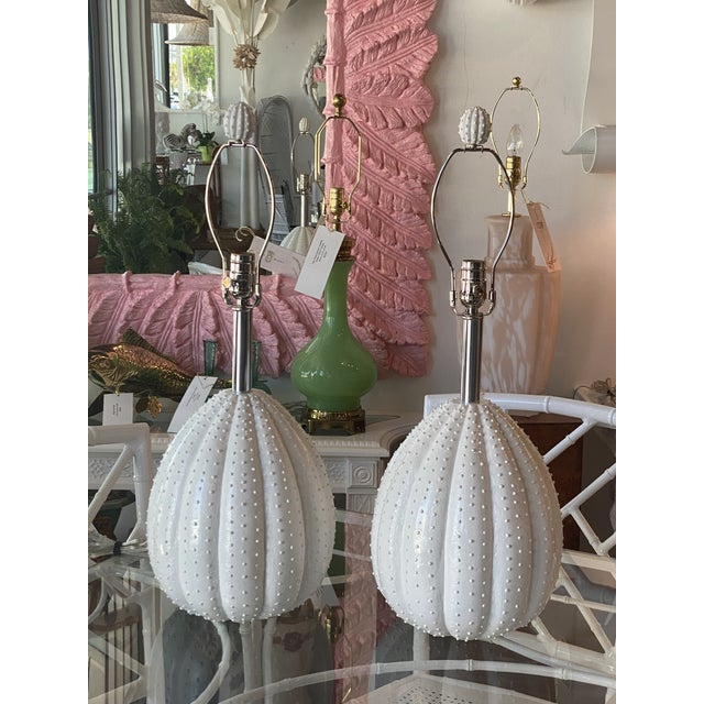 Vintage White Sea Urchin Style Palm Beach Table Lamps Newly Restored -A Pair For Sale In West Palm - Image 6 of 12