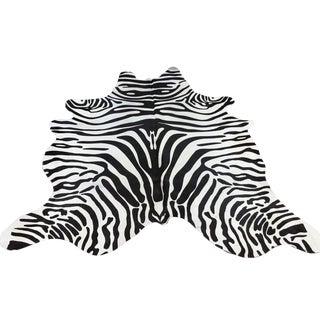 Contemporary Zebra Print Cowhide Rug
