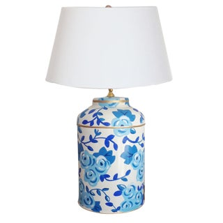 Dana Gibson Blue Chintz Tea Caddy Lamp For Sale