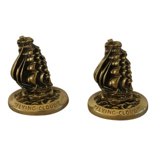 Brass Sailing Ship Paper Weights - A Pair For Sale