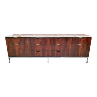 1970s Vintage Rosewood and Marble Credenza by Florence Knoll For Sale