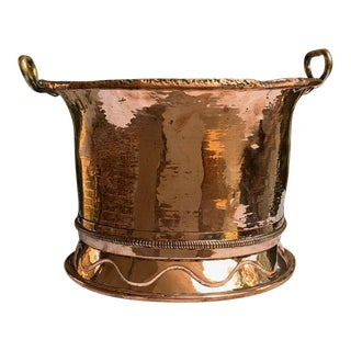 Antique French Embossed Hammered Copper Planter Cachepot For Sale