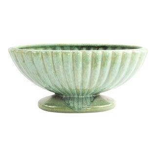 1950s Vintage Green Turquoise Drip Glaze Ceramic Pedestal Planter For Sale