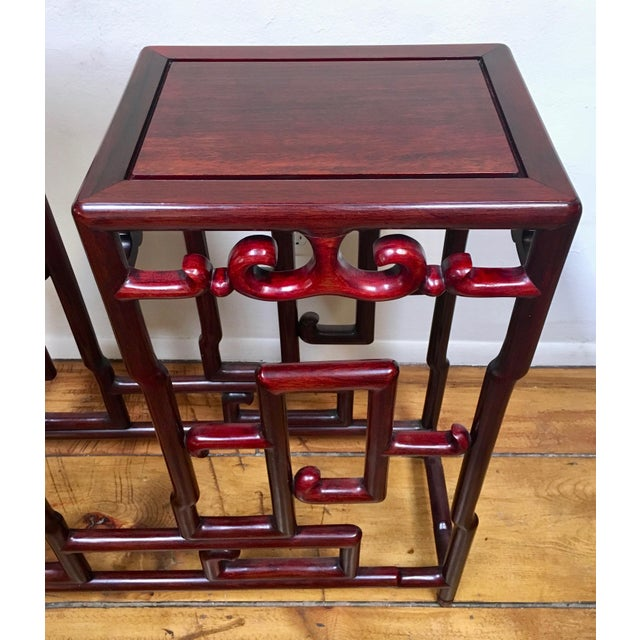 1940s Chinese Rosewood Double Pedestal Table For Sale In Santa Fe - Image 6 of 8
