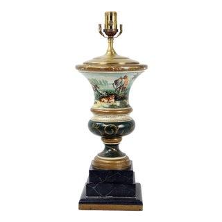 Trophy Vase Lamp Depicting Hunting Party After Tiger For Sale