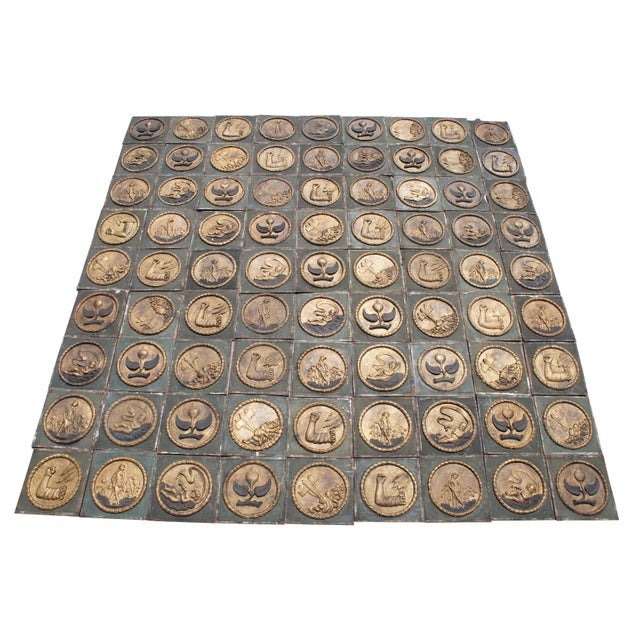 Handmade 17th Century Reproduction of Palazzo Ca D'Oro Ceiling Venice Italy Tile For Sale - Image 13 of 13