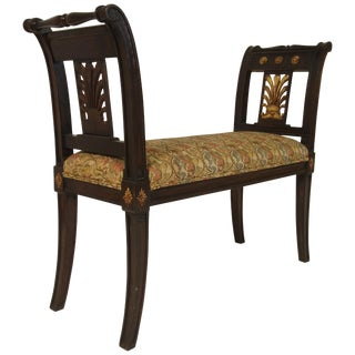 1980s Vintage Carved Wood Classical Bench For Sale