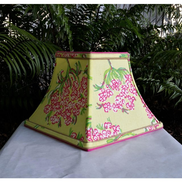 Not Yet Made - Made To Order Lilly Pulitzer Fabric Lampshade Hot Pink Green Tropical Floral For Sale - Image 5 of 10