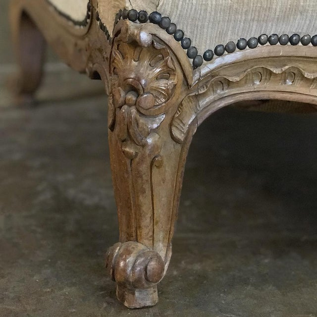 Antique French Walnut Louis XV Wingback Armchair For Sale - Image 11 of 13