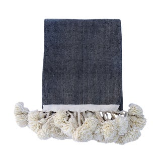 Handwoven Cotton Linen Pom Pom Blanket For Sale