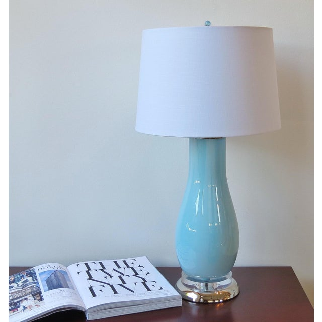 Pale Blue & White Swirl Glass Table Lamp - Image 6 of 6