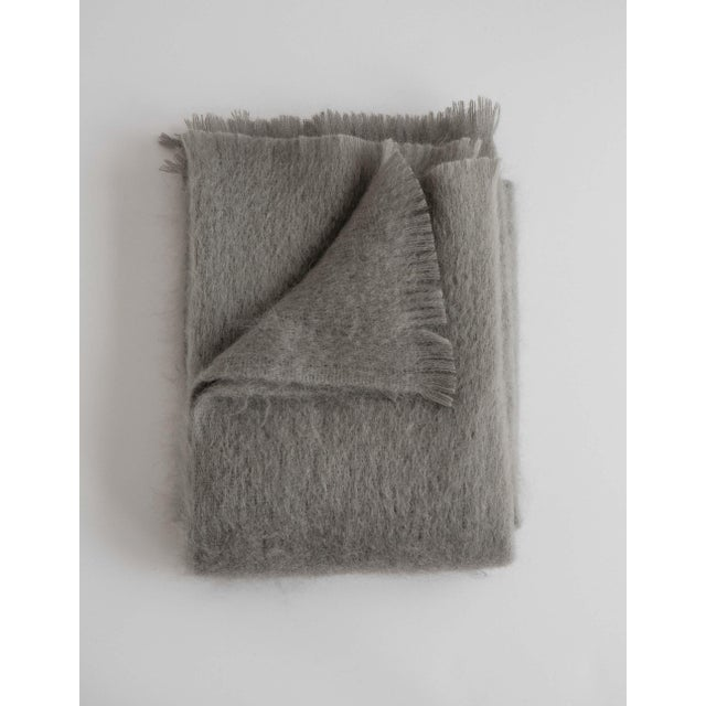 Mohair Throw in Rain Cloud For Sale - Image 13 of 13